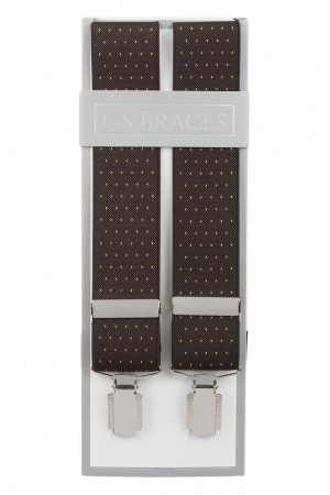 Brown Suit Trouser Braces With Golden Yellow Polka Dots